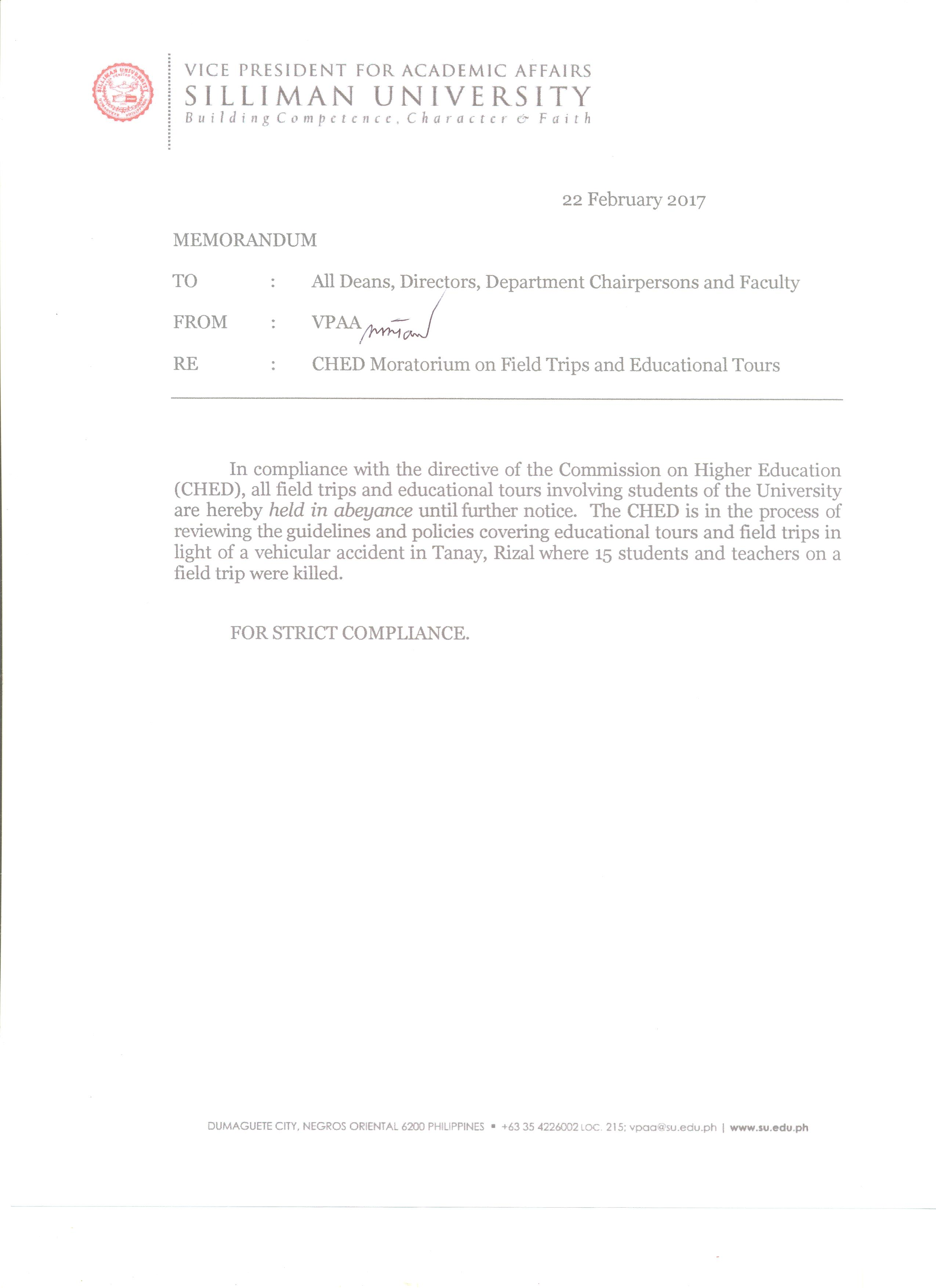 Memorandum on the CHED Moratorium on Field Trips and